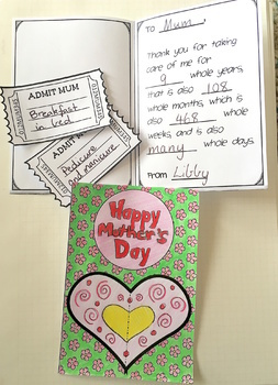 Free Mother's Day Maths Make a Card and Coupons NO PREP AUS UK