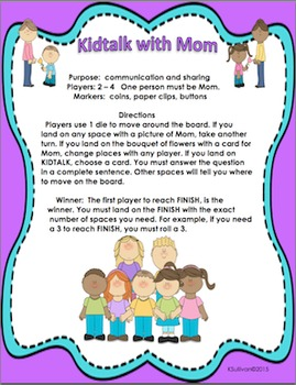 Free Downloads Mother's Day Game! KIDTALK with Mom! Centers  Gr K-3