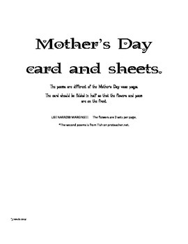 Free Mother's Day Sheets