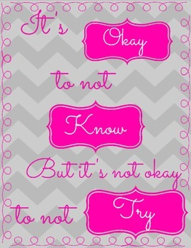 Free Motivational Poster Chevron and Pink