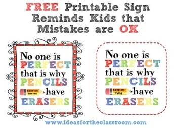 Free Motivational Sign No One is Perfect