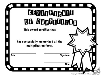 Free Multiplication Certificate and Chart to celebrate memorizing their facts