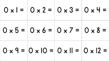 Free- Multiplication Flash Cards 0-12