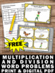 Free Multiplication and Division Word Problems 3rd Grade Math Review Task Cards