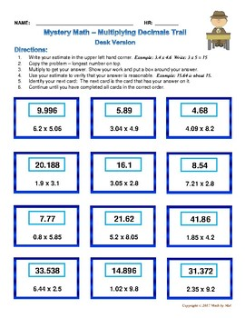 Free Multiplying Decimals Trails Activity Spy School