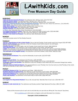 Free Museum Days in Los Angeles  Field Trip Ideas for Teachers in Los Angeles.