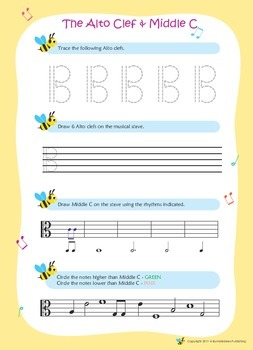 Music Bumblebees Music Notation Worksheets - Alto Clef