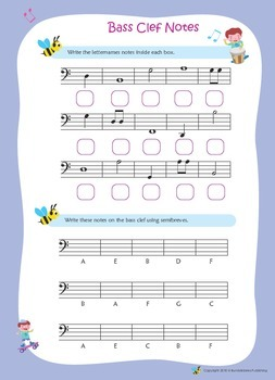 Music Bumblebees Music Notation Worksheets - Bass Clef
