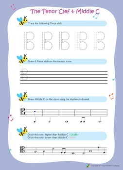 Music Bumblebees Music Notation Worksheets - Tenor Clef