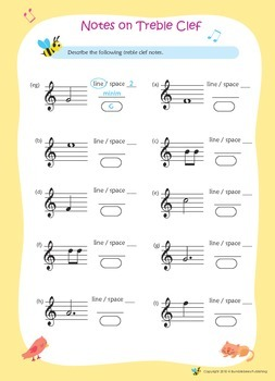 Music Bumblebees Free Music Notation Worksheets - Treble Clef