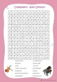 Music Bumblebees Music Word Search Worksheets - Composers