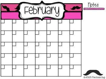 Free Mustache Themed Calendar
