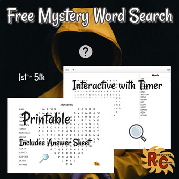 Mystery Themed Interactive & Printable Word Search Free