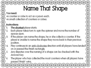 Free Name That Shape board game