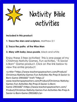 Free Freebie Nativity Christmas Activities Worksheets Printables