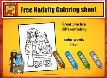 Free Nativity Color Word Word Printable from Charlotte's Clips