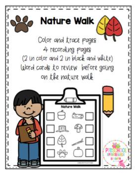 free nature walk for preschool by preschool printable tpt
