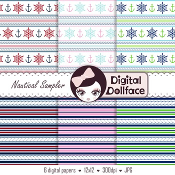 Free Nautical Digital Paper, rope, anchors, ship wheels background patterns