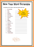 Free New Year Word Scramble activity with Answers