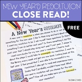Free New Year's Resolution Close Read Passage