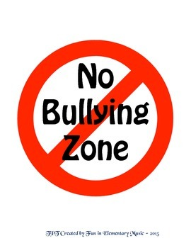 free no bullying zone poster sign by fun in elementary music tpt