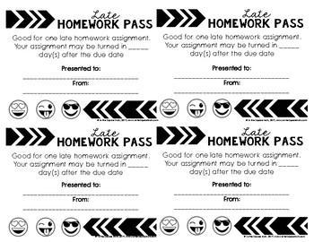 Free No Homework And Late Homework Passes