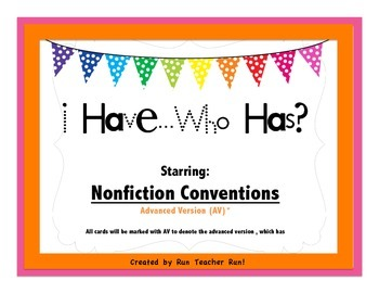 *Free* Nonfiction Conventions I have...Who has? Game (Advanced Version)