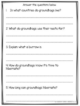 Free Nonfiction Groundhog Passage with Questions