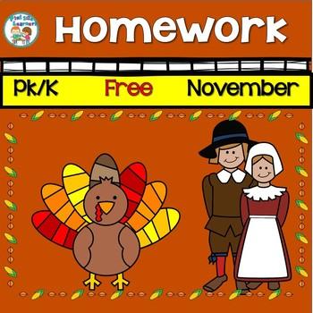 Free Editable November 2018 PK K Homework Calendar