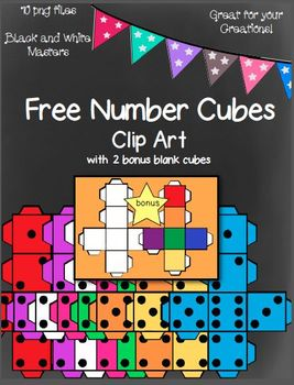 Free Number Cubes Clip Art With Two Bonus Blank Cubes~ 10