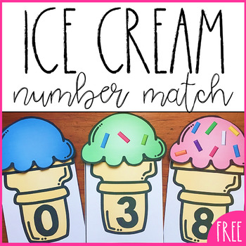 Free Number Recognition and Counting Activity- Ice Cream Cones