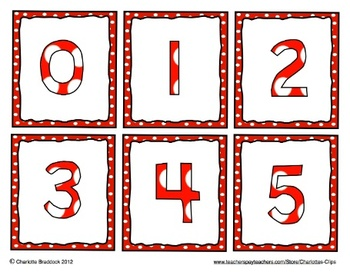 Free Number cards 0 to 20: Polka dot Frames for games or number line wall