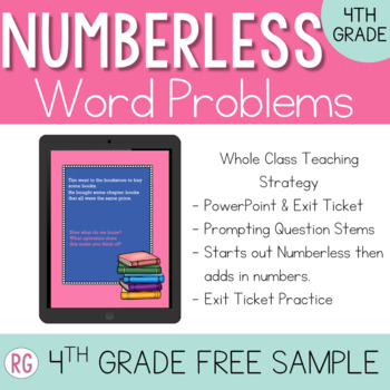 Free Numberless Word Problems 4th Grade