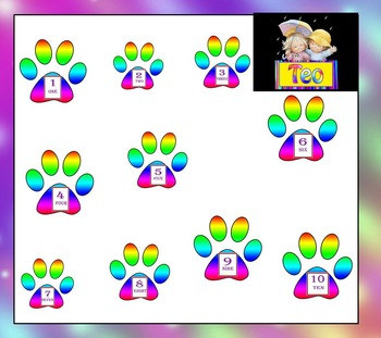 Math - Paw Prints - Clip Art - Numbers