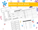 Numbers Word Work Packet – 20 words, no prep spelling packet, 70+ pages