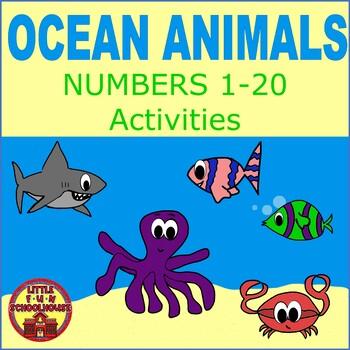 Free Ocean Animals Numbers 1-20 Worksheets