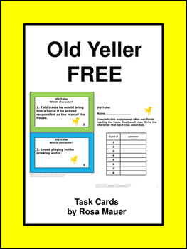 Free Old Yeller Character Clue Literacy Task Cards