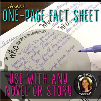 Free One Page Fact Sheet For Any Story Or Novel By Tracee Orman  Tpt