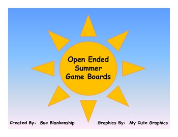 Free Open Ended Summer Game Boards