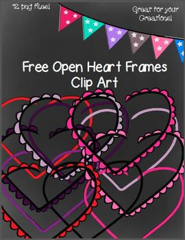 Free Open Heart Frames- 12 png Files (Black and White Master Included)