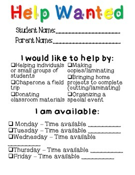 Free! Open House Parent Forms