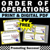 FREE Order of Operations Task Cards, 5th 6th Grade Math Re