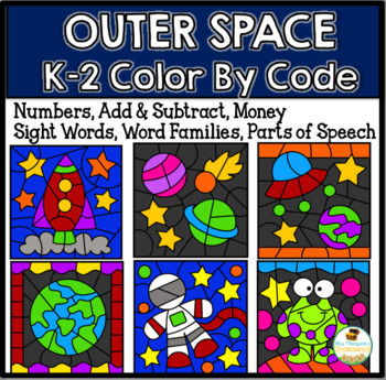 Free Outer Space Color By Code K-2