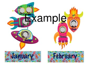 Free Outer Space Themed Birthday Chart