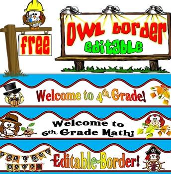 Free Owl Borders- Editable