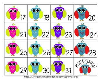 Free Owl Calendar Cards ABCD Pattern