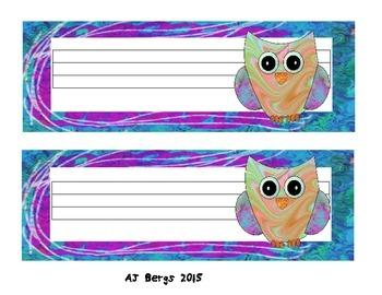 Free Owl Name / Desk Tags