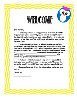 Free Owl/Chevron Parent Welcome Letter (English/Spanish)