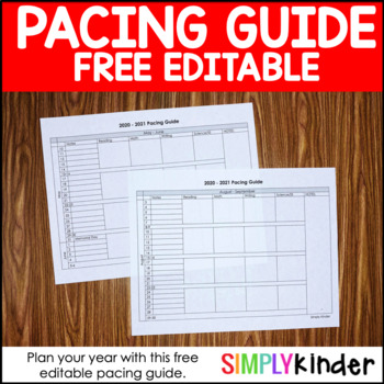 Pacing Guide for Back to School Planning
