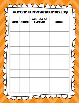 Free Parent Communication Log